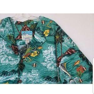 Vintage Paradise On A Hanger Green Hawaiian Shirt